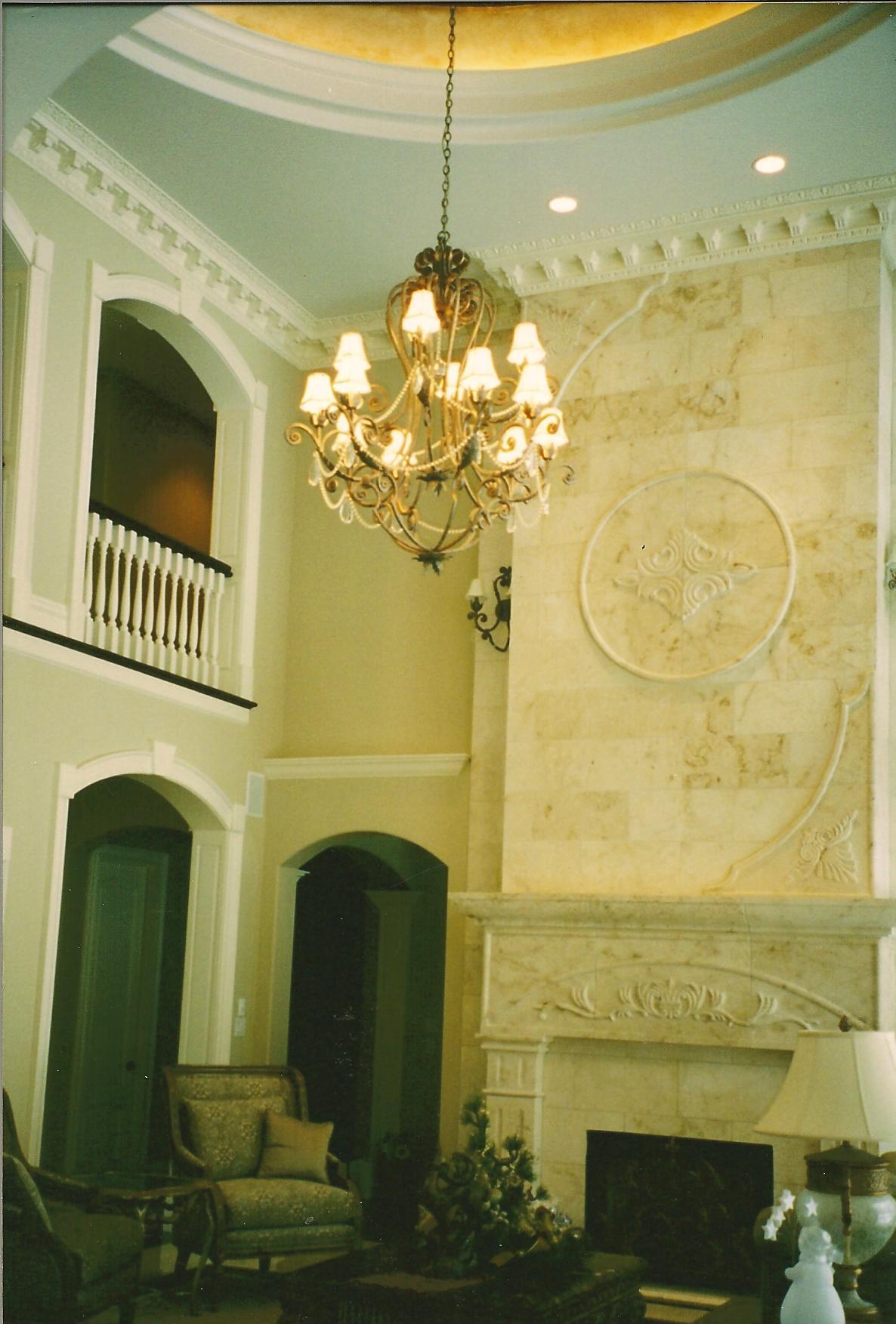Custom Designed Great Room w/ Sculpted Limestone Fireplace