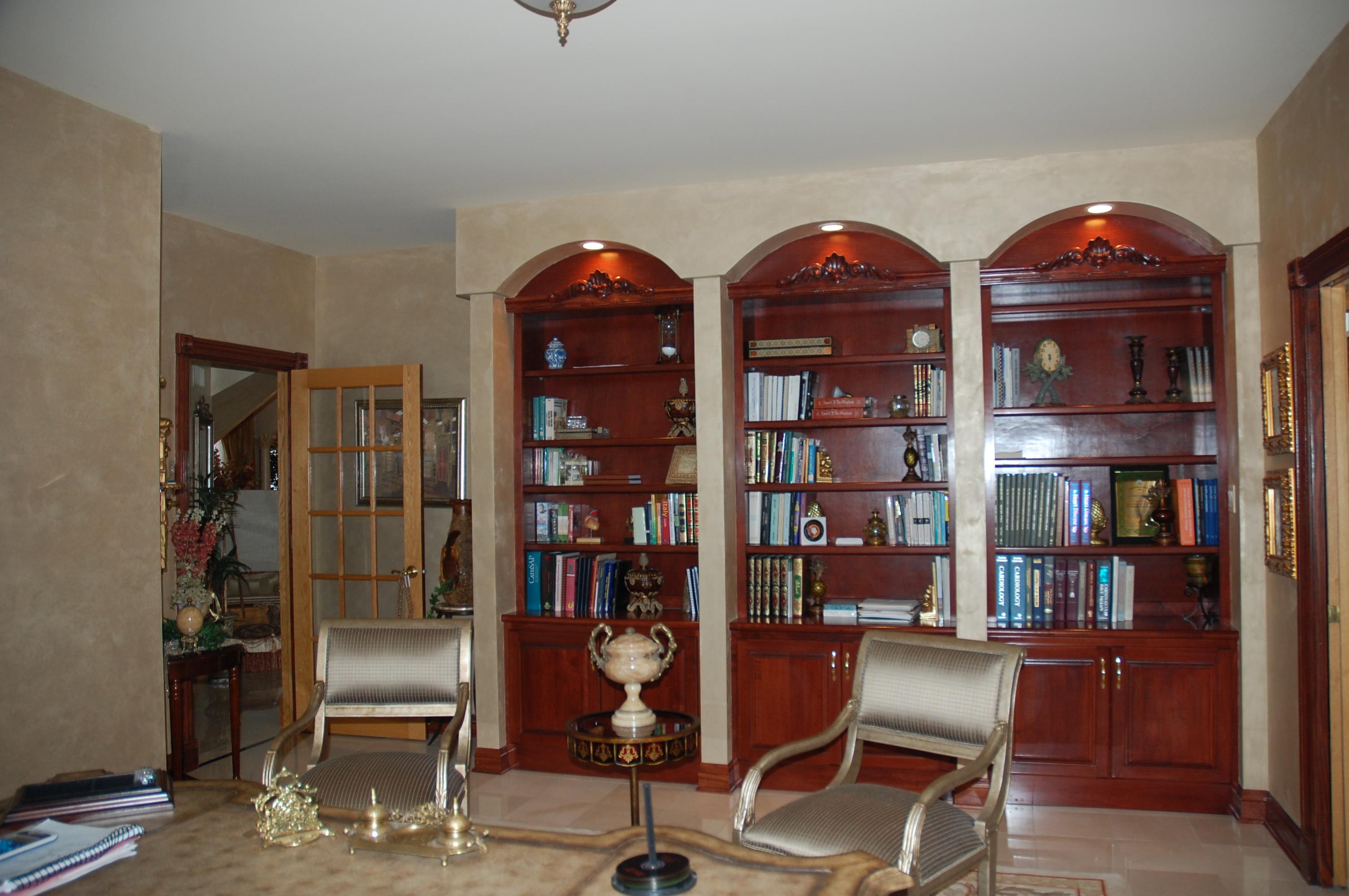 Custom Cherry Built in Cherry Bookcases